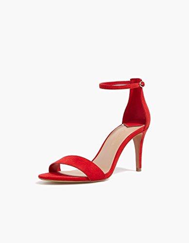 HBDLH Pies De Sexy De Zapatos Dedos Señoras De Hebillas Bien Tacon Alto Delgado gules Cinturon Y Los Zapatos Sandalias FFra7x
