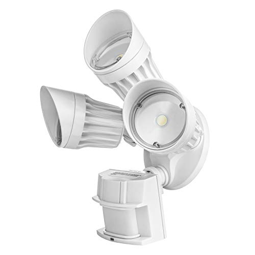 Hyperikon LED Outdoor Security Flood Light with Motion Sensor, 30W, 3 Head, White, LED Motion Light, Garage, Front Yard 5000K