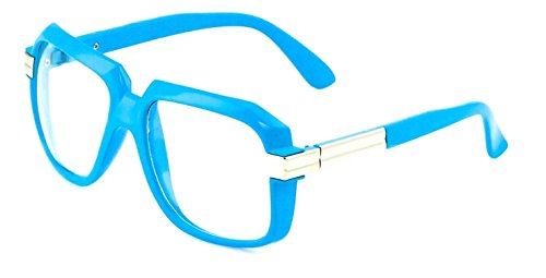 Gazelle Emcee Oversized Square Sunglasses w/ Clear Lenses (Neon Blue & Silver Frame, - Frames Glasses Neon