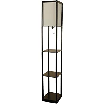 Mainstays Black Shelf Metal Base With Black Finish Floor Lamp With White  Shade On/off