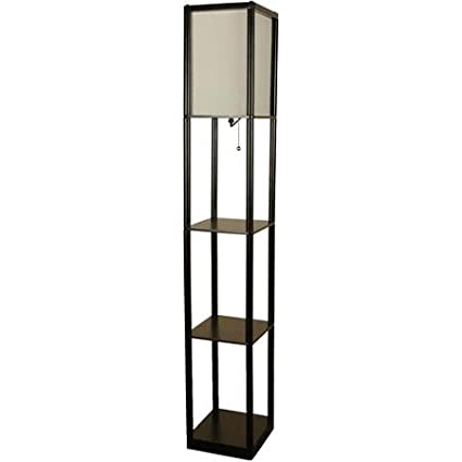Mainstays Black Shelf Metal Base With Finish Floor Lamp White Shade On Off CFL Bulb Included