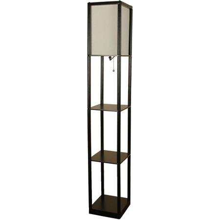 Mainstays Black Shelf Metal Base with Black Finish Floor Lamp with White Shade On/off CFL Bulb Included