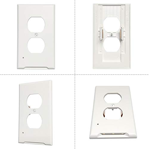 6Pack Duplex Outlet Wall Plate Cover With 3 LED Night Light-No Btterie Or Wire,Home Electrical Outlet Cover,Replacement Receptacle Faceplate Cover,Daylight Cool White (6000K),Not Work GFCI,Switch