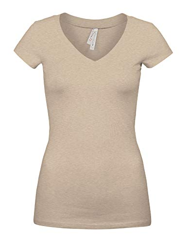 The Color Story Womens Basic Oatmeal Colors Slim Fit V-Neck Top (1001-OATMEAL-S)