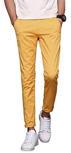 Plaid&Plain Men's Stretchy Yellow Pants Yellow 27X28 ()