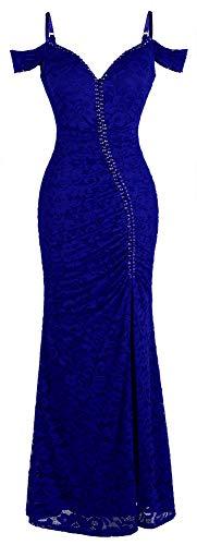 Beading Fashion - Angel-fashions Women's V Neck Lace Split Ruffled Beading Sheath Wedding Dress (XXL, Off Shoulder Blue)