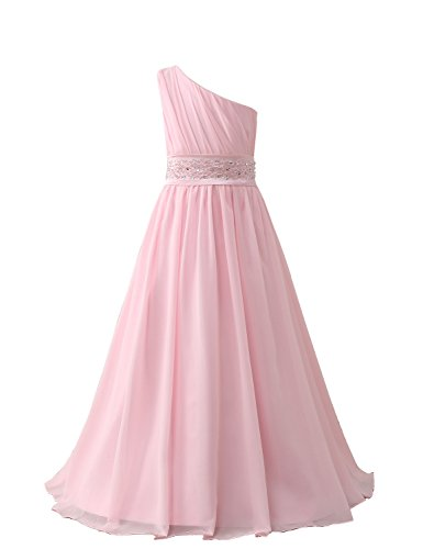 Belle House Girl's Long Chiffon Pageant Gown A Line Pink Wedding Flower Girl (Length A-line Dress Gown)