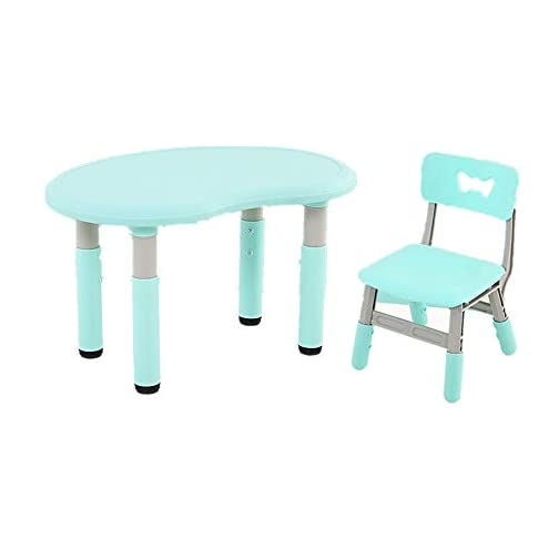 Opbsite Child Highchair Plastic Children's Table and Chair Set Baby Table Height Adjustable (Color : Blue, Size : D1)