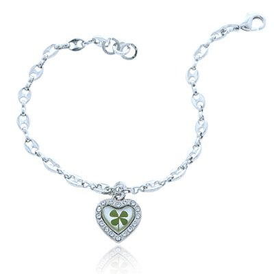 Shamrock Charm Leaf Clover - Stainless Steel Real Irish Four (4) Leaf Clover Shamrock Heart Charm Bracelet