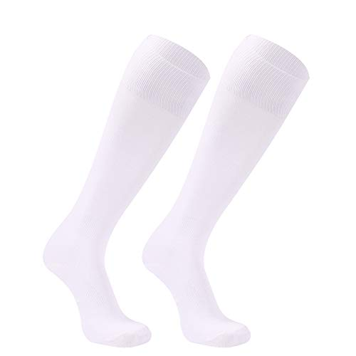 Long Tube Softball Socks, FOOTPLUS Winter Warm Breathable Arch Support Knee High Pro Soccer Socks for Team Sports Rugby Volleyball Hockey Baseball, Back to School Presents, 2 Pack White, Medium