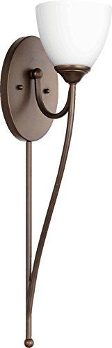 Quorum Lighting 5450-1-86, Brooks Torchiere Glass Wall Sconce Lighting, 75 Watts Oiled Bronze ()