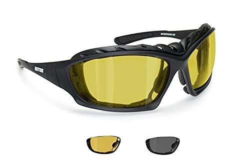 BERTONI Photochrome Polarisierte Motorradbrille UV Schutz – mit austauschbare Bügel oder Kopfband – P366FTA…