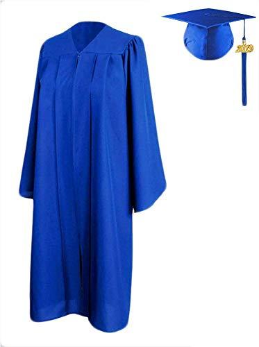 HEPNA 2019 Royal Blue Matte Graduation Cap and Gown Tassel Set,Size 45 Small,for High School Bachelor College Grads -