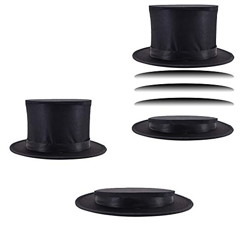 Doowops Black Magic Folding Spring Hat Magic Tricks Appearing/Vanishing Objects Hat Stage Accessories Gimmick Magician Folding Top Hat