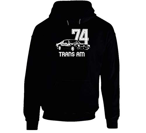 1974 Firebird Trans Am Three Quarter View with Year and Model Dark Color Soft Heavy Duty Hoodie XL - Trans 1974 Am
