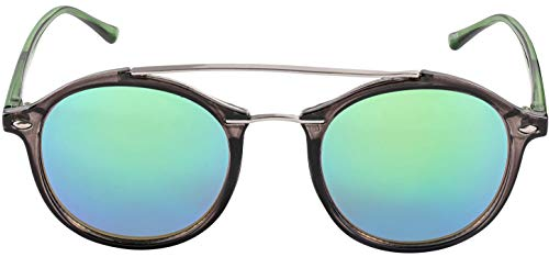 Transparent Silver Frame (Grey and silver frame and Transparent Green temples with Green Mirror Lens)