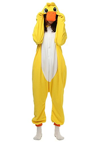 Laidisi Novelty Halloween Costumes Pyjamas Unisex Adult One-Pieces Cosplay Animal Jumpsuits (X-Large, Yellow Duck)