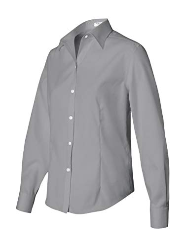 Van Heusen Women's Long Sleeve True Wrinkle-Free Cotton Pinpoint Oxford Dress Shirt 13V0144 grey L