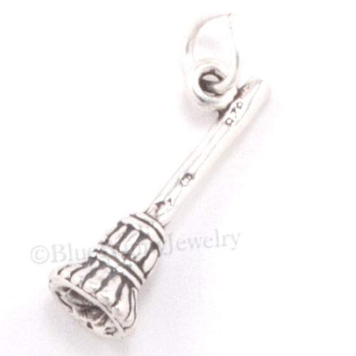 Sterling Silver 3D Witch Broom Halloween Broomstick Charm DIY Jewelry Making Supply for Charm Pendant Bracelet by Charm Crazy