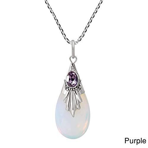 CHoppyWAVE Necklaces Women Water Drop Teardrop Pendant Necklace Faux Moonstone Chain Party Jewelry - Purple