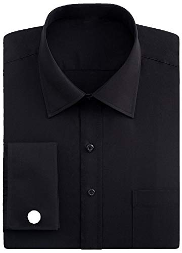 J.VER Men's French Cuff Dress Shirts Regular Fit Long Sleeve Spead Collar Metal Cufflink - Color:Black, Size: 17.5