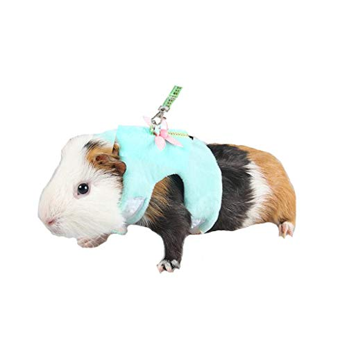 Mummumi Small Animal Harnesses, Hamster Harness Leash Pet Traction Rope Chest Straps for Hamster Gerbil Rat Mouse Ferret Chinchilla Glider Squirrel (S-Chest 5.51-7.87inch, Green)