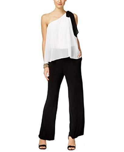 (INC International Concepts Petite Colorblocked One-Shoulder Jumpsuit (Deep Black, 4P))
