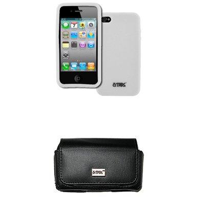 EMPIRE Apple iPhone 4S Noir Leather Cuir Case Étui Coque Pouch with Clip Ceinture and Boucles de Ceinture + Blanc Silicone Skin Cover Couverture Case Étui Coque