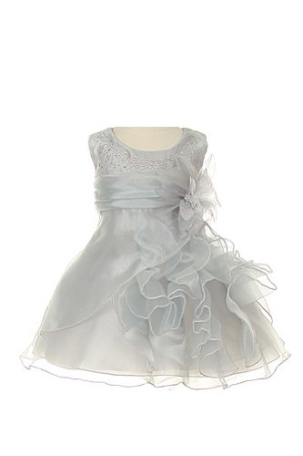 Cinderella Couture Baby Girls Cascading Organza Dress Silver