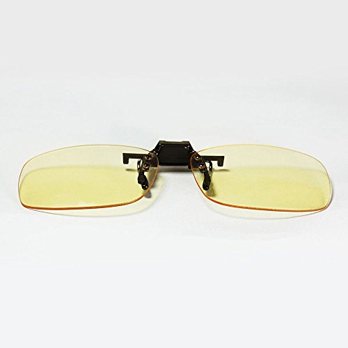 Archgon Computer Glasses Anti Blue Light UV Protection Clip-on Flip-up Type with Amber Lens (compatible with a single lens within 1.55 inches height and 2.35 inches - Glasses Clip On Amber