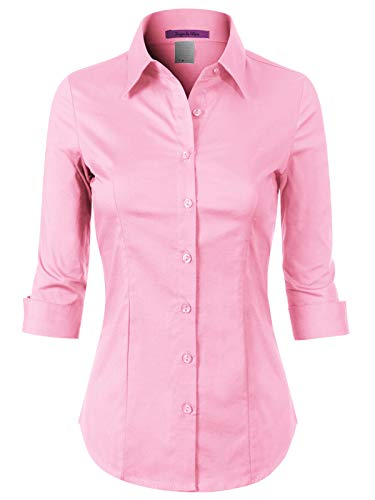 Design by Olivia Women's 3/4 Sleeve Stretchy Button Down Collar Office Formal Casual Blouse Shirts Top Light Pink 2XL ()