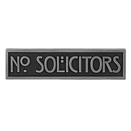 - Atlas Signs and Plaques Mini Stickley No Solicitors Plaque 8x2 - Raised Stainless Steel Metal Coated Sign