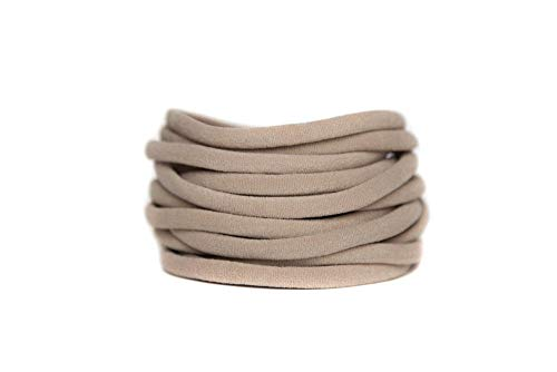 Nylon Headbands Nude pack 20 super soft stretchy one size fits all elastic bands for infant baby babies girl Toddler Adult Skinny Headbands Run-Resistant Headbands DIY Baby Headbands ()