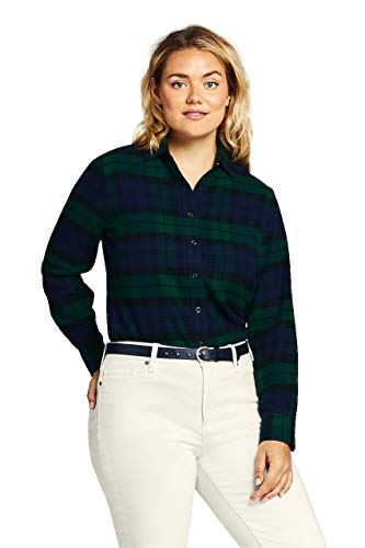 Lands' End Women's Plus Size Flannel Shirt, 20W, Fresh Spruce Blackwatch Tartan