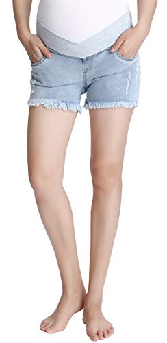 Foucome Women's Underbelly Wide Elastic Band Waist Maternity Shorts for Women Denim Light Blue