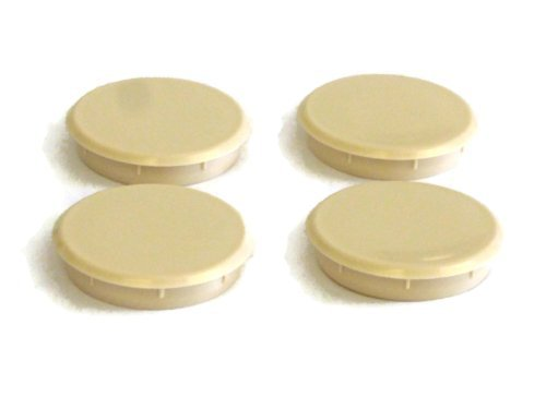 1 x Pack of 4 beige hinge cover caps to conceal 35mm hole by Swish