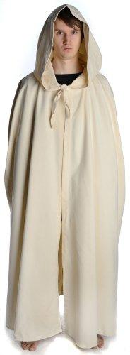 beige de negro estructura hemad con Gran Algodón con capa Beige Medieval marrón capucha color lino nqq0Px8Ow