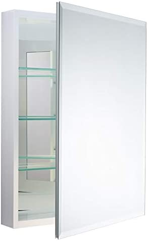 Miseno MBC3023-WH Carlentini 30 H x 23 W Recessed or Surface Mount Medicine Cabinet with Beveled Mirror