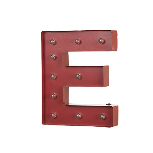 Glitzhome Vintage Marquee LED Lighted Letter E Sign Battery Operated Red -
