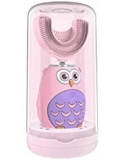 Kids Electric Toothbrush, Qmix Children's Ultra Sonic Toothbrush with U-Shaped Brush Head, Smart Timer, IPX7 Waterproof, Cartoon Modeling, Special Design for Toddlers, Ages 2-8