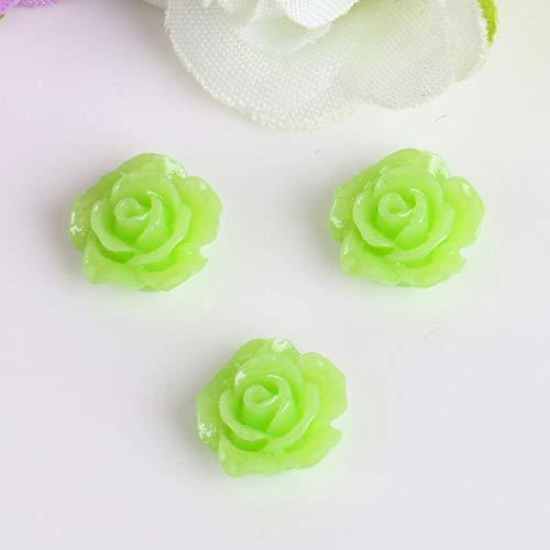 Kamas 5pcs/pack Black White Rose Rhinestones Nail Art Decorations 3d Petal Emboss Sculpture Flowers Charm Beauty Manicure Accessories - (Color: light green-10pcs)