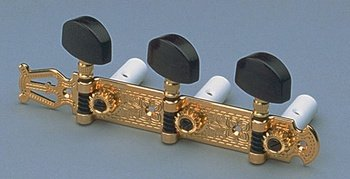 Schaller Lyre Classical Tuning Keys Gold w/Ebony Button Allparts TK-7955-0E2 by Schaller