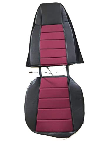 - TC Seat Cover Black/Burgundy Extra Foam for Cushion fits Peterbilt Kenworth Freightliner Western Star Volvo International (Set is for 1 Seat)