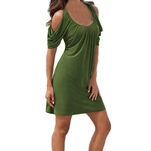 Sunhusing Ladies Solid Color Pleated Round Neck Off-Shoulder Short Sleeve Dress Summer Comfort Loose Beach Dress Army Green