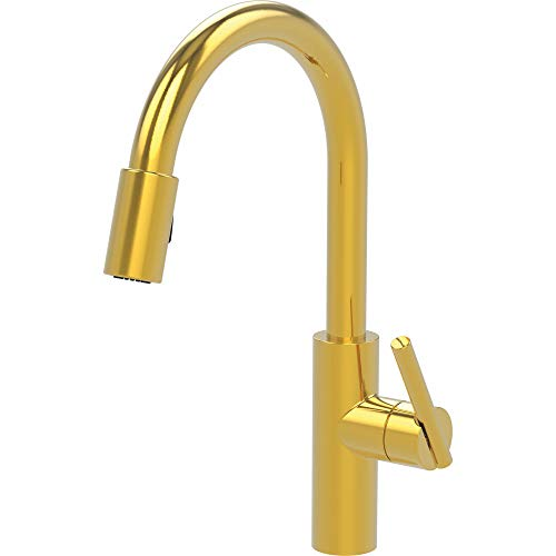 Newport Brass 1500-5103/03N East Linear Kitchen Faucet with Metal Lever Handle and Pull-down Spray, Polished Brass ()