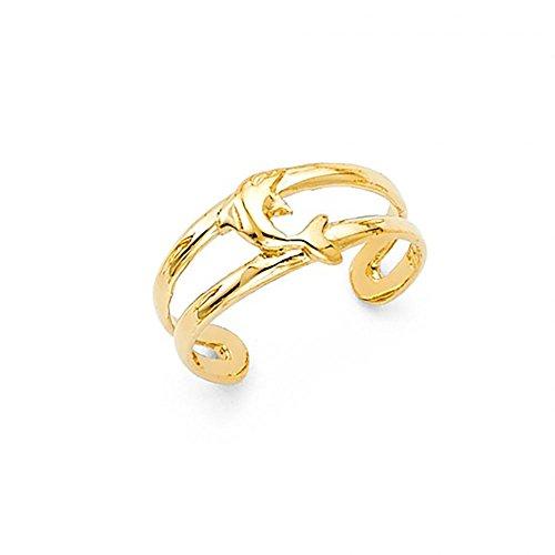 14k Yellow Gold Dolphin Toe Cuff Ring - Dolphin 14k Ring Toe Gold