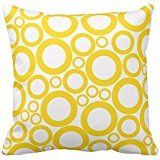 Yellow Circles On White Throw Pillow Case Soft Cotton Polyester Cushion Cover Home Sofa Decorative Squares (Twin Sides)