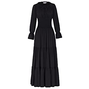 Belle Poque Women Long Sleeve Renaissance Pleated Maxi Dress