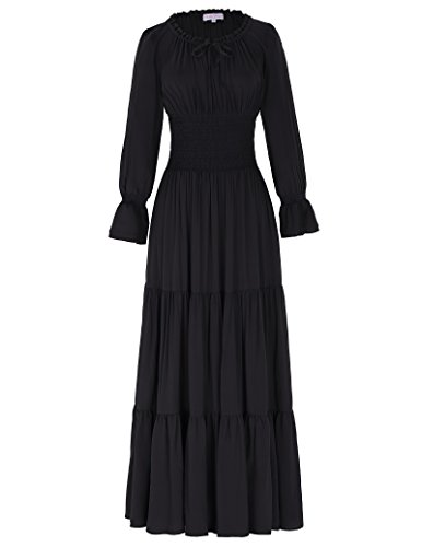 Belle Poque Gypsy Boho Renaissance Peasant Maxi Dress Smocked Waist Black Size L
