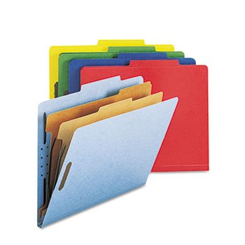 Smead® Six-Section Colored Pressboard Top Tab Classification Folders with Two Dividers FOLDER,CLAS,TPTAB,LTR,AST (Pack of2)